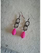 Knickknack Gun metal Pink bead Earrings