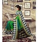 Bhagalpuri Silk Printed Green Saree
