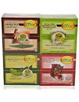 GTEE Green Tea Bags - Ginseng & Hibiscus Tea Bags & Moringa Tea Bags & Green Tea Bags - Regular (10 Tea Bags X 4 PACKS)