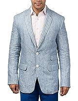 Hangrr Men's Linen Blazer (HNG15BL03_Blue_42)