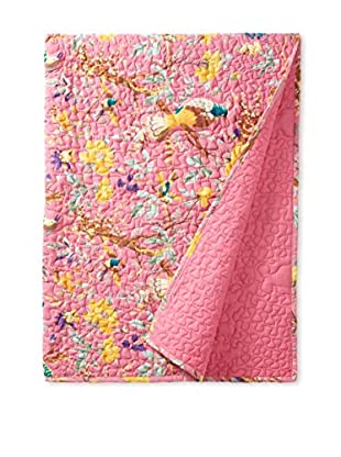 North Rodeo Collection Floral Block Hand Stitched Throw, Pink/Multi