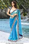 Designer Sea Blue Net Saree With Stylish Blouse