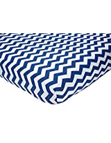 "Little Love by NoJo Separates Collection 6 Piece Printed Chevron Crib Sheet, Navy/White, 52"" x 28"""