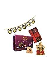 Skylofts 175gms Luscious Chocolate coated Almonds Tin pack with a cute teddy, a beautiful candle diya set & bandanwaar, ganeshji idol Diwali combo
