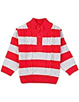 Infant Boys Striper Sweater with High Neck, Yellow (0-6 Months)