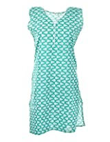 2Dots Women's Cotton Regular Fit Kurti (Blue, 40 Inches)