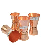 Dungri India Craft ® (Set of 4) Premium Hammered Solid Copper Jiggers - Shot Glasses - New Beer Bar Collection / Wine Glasses/Double Shot Glasses