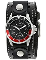 Nemesis Men's Classy Classic Diver Black Stitched Leather Cuff Analog Display Japanese Quartz Watch
