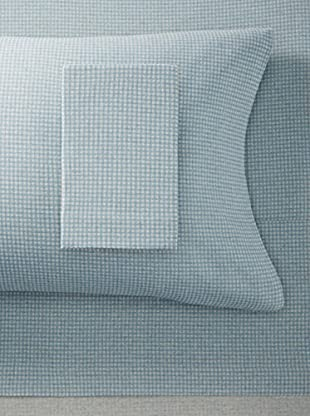 La Rochelle Blue Flannel Gingham Sheet Set