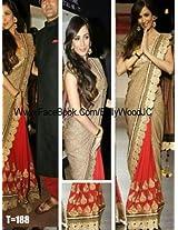 Bhuwal Fashion Beige, Red Semi Chiffon Bollywood Replica Saree