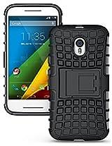Eccelere dual armor kickstand hybrid case for for Motorola Moto G3 (3rd Generation) - Black