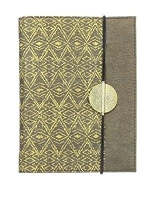 Marina Vaptzarov Printed Vegetal Leather Cover Journal, Dark Brown/Grey