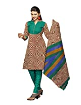 Karishma Suits Womens Cotton Dress Material (Kpanelpg04 -Brown -Free Size)