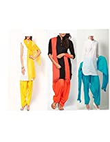 Ashmita cotton set of Patiyall & Dupattas-Yellow ,Orange,Terquise-FS