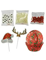 Santa Hat Picks Set for 24 Cupcakes