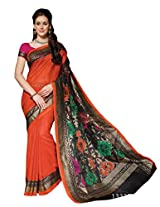 Orange Colour Faux Bhagalpuri Semi Party Wear Shiny Paisley Printed Saree 13333