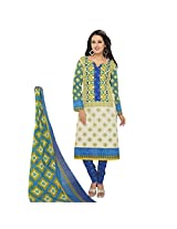 Rajnandini Women's Blue & Cream colour pure cotton Printed Unstitched salwar suit Dress Material (Free Size)