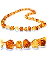The Art Of Cure - Safety Knotted - Honey 1X1 - (Unisex) - Certified Baltic Amber Baby Teething Necklace Highest Quality