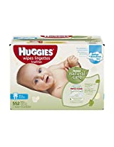 Huggies Natural Care Baby Wipes, Refill, Unscented, Hypoallergenic, Aloe and Vitamin E, 552 Count