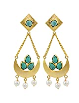 Gehnamart Yellow Gold Plated Turquoise Hanging Earring