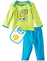 Infant Boys Full Sleeve Tee with Legging and Bib, Multi Colour (6-9 Months)