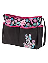 Disney Minnie Mouse Floral Print Large Hobo Diaper Bag, Black/Pink