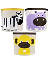 3 Sprouts Storage Bin, 3 Pack - Zebra, Hippo & Monkey