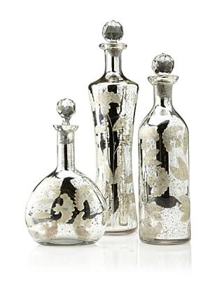 Old World Estate Set of 3 Madison Etched Mercury Glass Bottles (Silver)