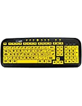 Dc Ezsee By - New And Improved - Large Print Spanish Latin American Usb Wired Computer Keyboard For Low Vision Users- Yellow Keys With Black Letters