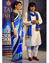 Madhuri Dixit Blue Bollywood Designer Saree at Taj Mahal Tea Event