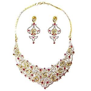 Daamak Jewellery Pink Stone Cubic Zircon Necklace
