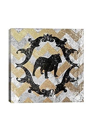 Bulldog Yellow & Gray Gallery Wrapped Canvas Print