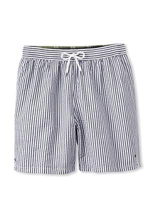 Tailor Vintage Men's Reversible Swim Trunks (Navy Seersucker/Plaid)