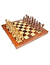 "craft store Hand Made Wooden Chess Board 14""x14"" Folding With 4"" Roman Brass Chess Set"