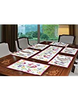 "Avira Home Rose Garden Table Mats & Table Runner Set- 6 Mats (13""x19"") & 1 Runner (13""x39""), Machine Washable"