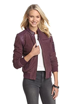 Members Only by Rebecca Eve Women's Distressed Suede Jacket (Bordeaux/Black)