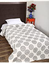 Pleasant Hand Block Printed Cotton Quilt Single White Floral By Rajrang
