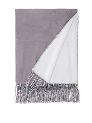 Nine Space Brushed Bamboo Viscose Bi-Color Throw, Blue/Charcoal