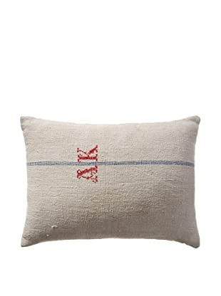 Vintage Hungarian Seed Bag Fabric Pillow, Red/Blue