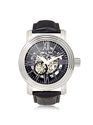 Lucien Piccard Men's 11912-01 Domineer Black Skeletonized Leather Watch
