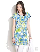 Floral Kurti With Box Pleat-Green-S