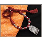 Elephant Pendant Thread Necklace - Maroon