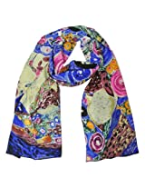 Wrapables Luxurious 100% Charmeuse Silk Long Scarf with Hand Rolled Edges, Gustav Klimt's The Virgin