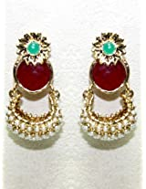 Ethnic Polki Work Earrings Carved With Stone And Beads
