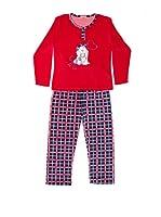 Bluedreams Pijama Niña Tundosado (Rojo / Gris)