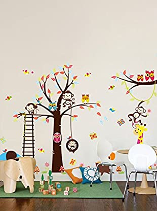 Ambiance Live Wandtattoo Wonderful giant kid - Tree, monkeys, girafe and birds mehrfarbig