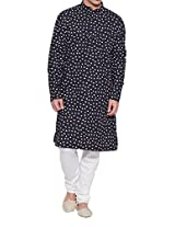 Shaliindia Men Cotton Long Kurta Nehru Collar 3 pockets,M-CLK38-1014,Black,Size-38 Inch