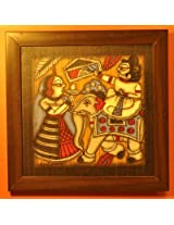 Contemporay Art - Phad paintings - King on Elephant Toran Queen Lamp (CAPP1212KETQL)
