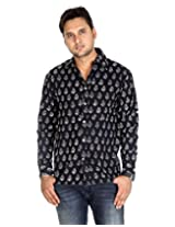 Elegant Cotton Designer Leaves Black Casual Shirt By Rajrang