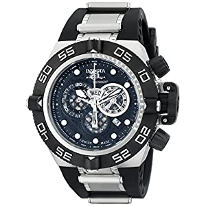 Invicta Watches, Men's Subaqua Chronograph Black Dial Black Polyurethane & Stainless Steel, Model 6564